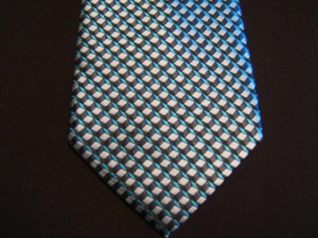 Blue/Black 3D Cubes XL Woven Poly Tie