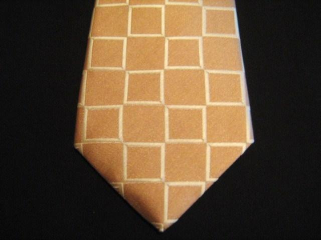 Orange/Cream Squares XL Woven Poly Tie