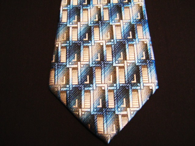 Blue/brown/beige rectangles XL Woven Poly Tie