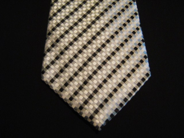 Black/White Checked Xl Woven Poly Tie