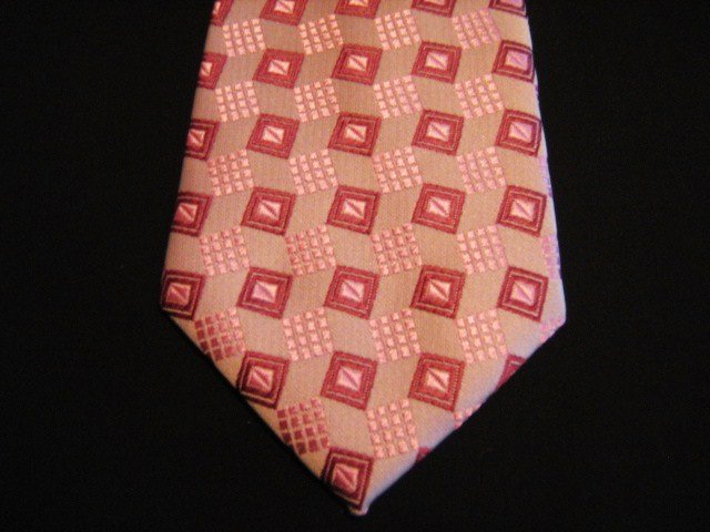 Peach/Red Squares XL Woven Poly Tie