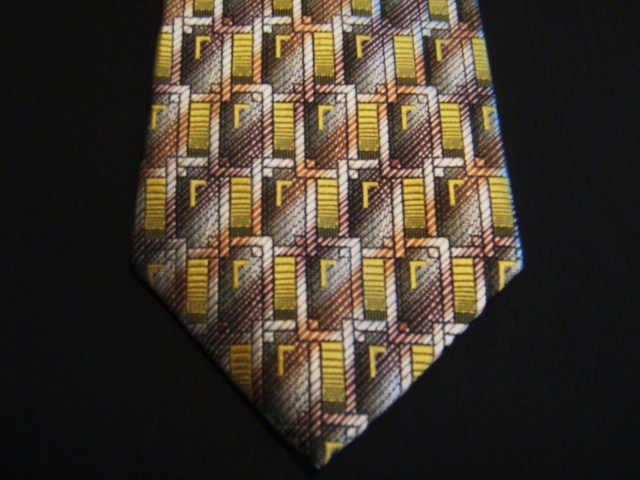 Brown/Yellow Rectangles XL Woven Poly Tie