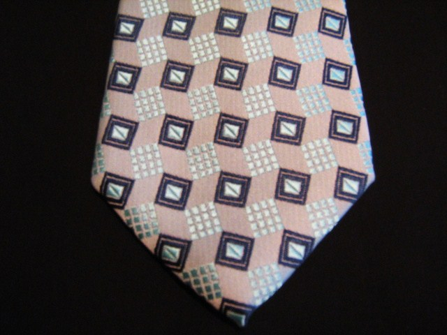 Pink/Silver/Black Squares XL Woven Poly Tie