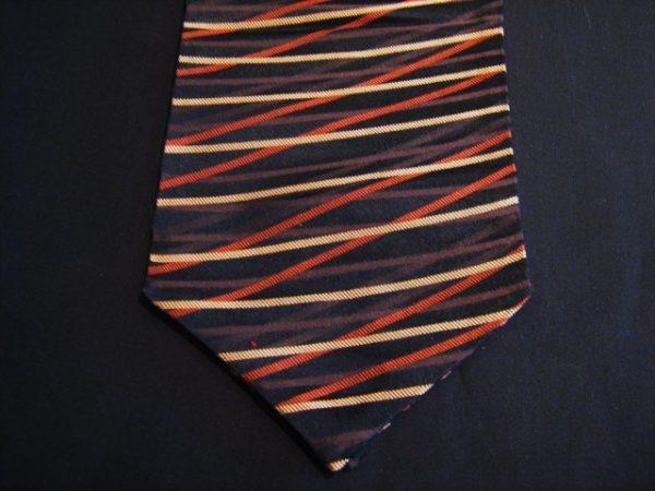 Black/orange silk cravat-0