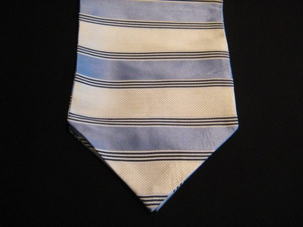 Blue/Cream striped silk cravat-0