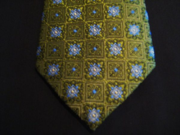 Olive green/blue patterned woven poly Tie-0