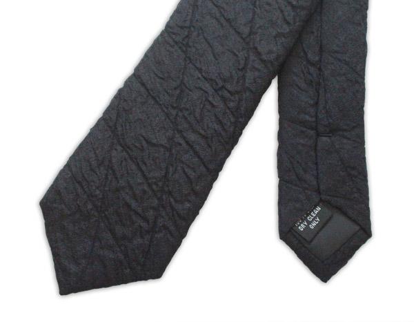 Black Skinny quilted Tie