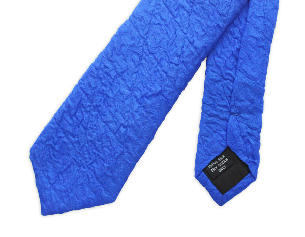 Blue Skinny Silk Quilted Tie