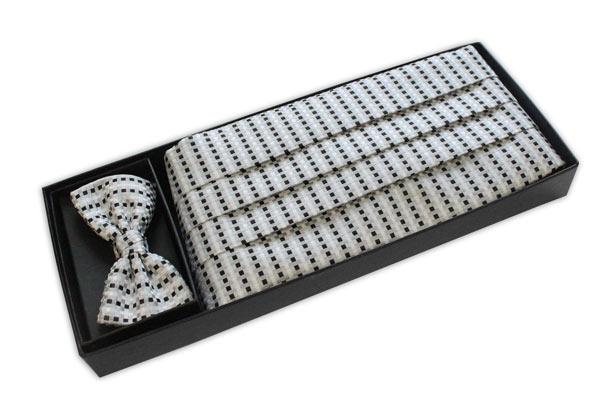 White/black/silver grid Cummerbund and Bow Tie -0