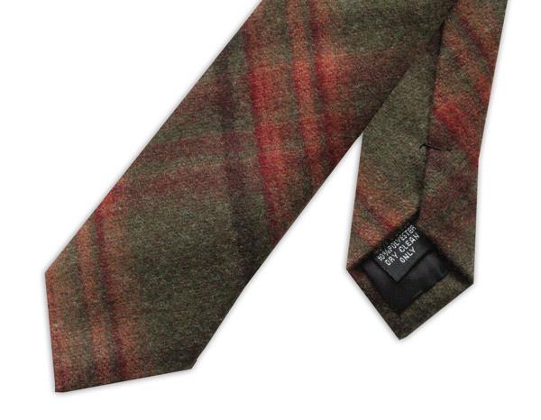 Brown/Red Tartan Wool Tie