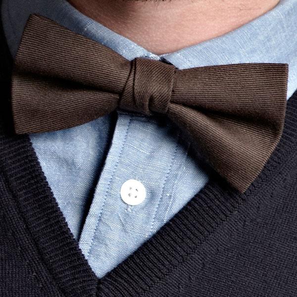 Plain Brown Wool Bow Tie
