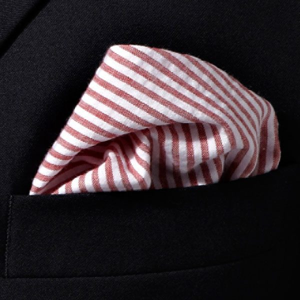 Red/White Striped Cotton Pocket Square-0