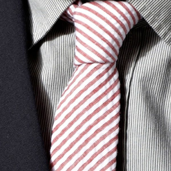 Red/White Striped Cotton Tie-0