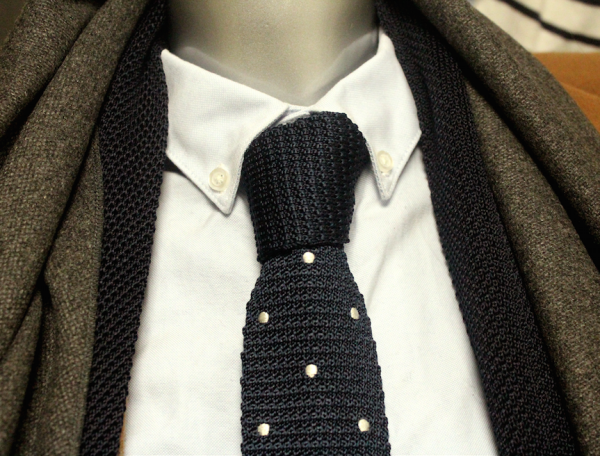 Knitted Navy/white dots silk knitted Tie-0