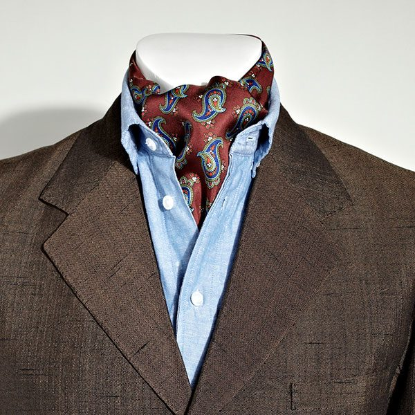 Burgundy/blue Paisley Silk Aviator Scarf-0