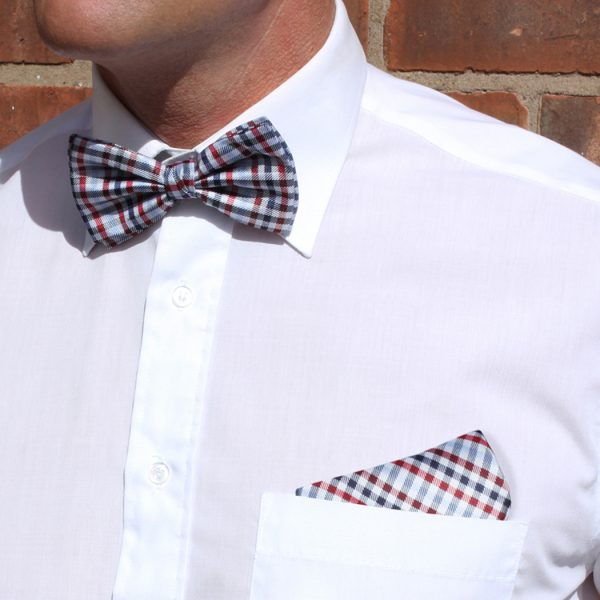 Blue/Red/Multi Checked Silk Bow Tie-0