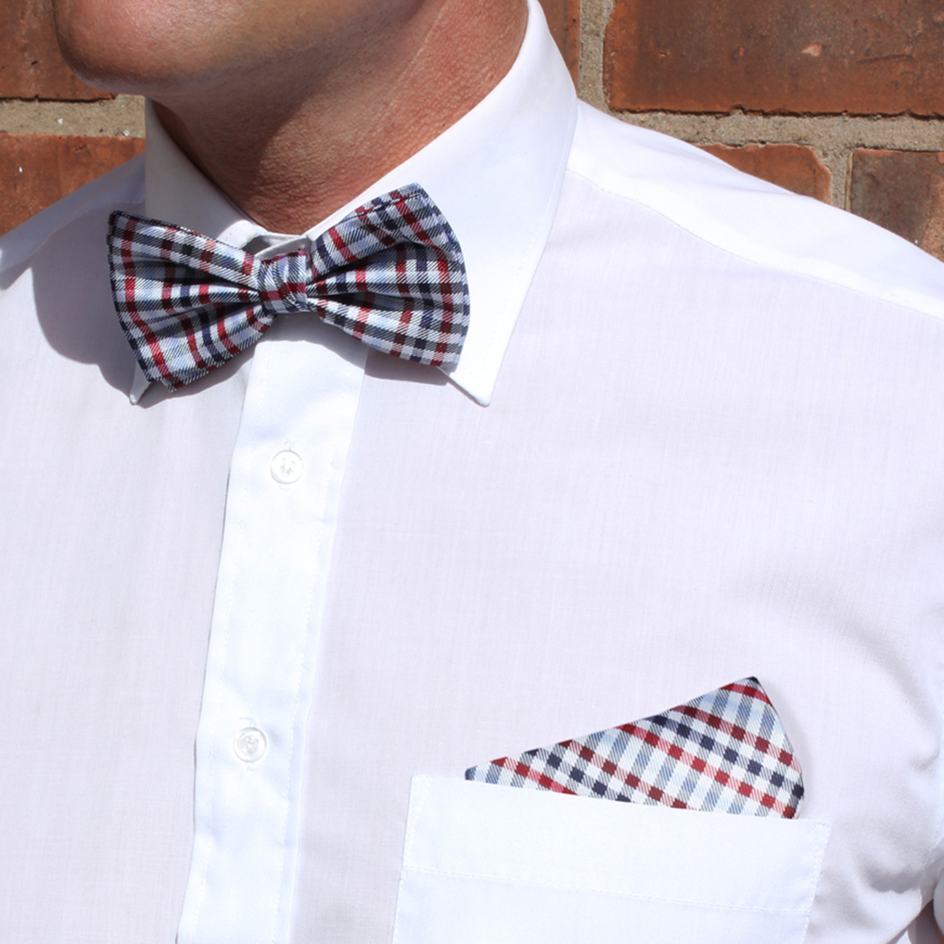 Blue/Red/Multi Checked Silk Bow Tie