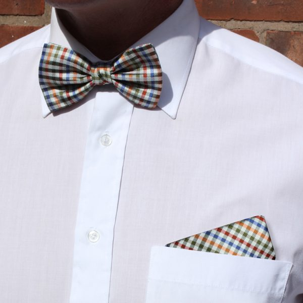 Red/multi Squared Silk Bow Tie-0