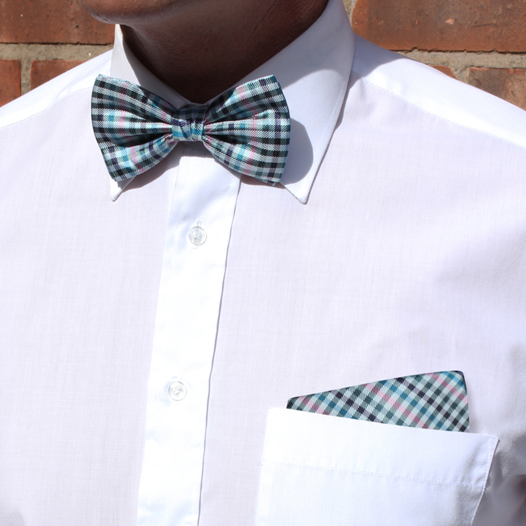 Blue/Multi Check Silk Bow Tie