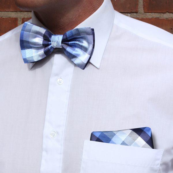 Blue/silver/multi Silk Bow Tie-0