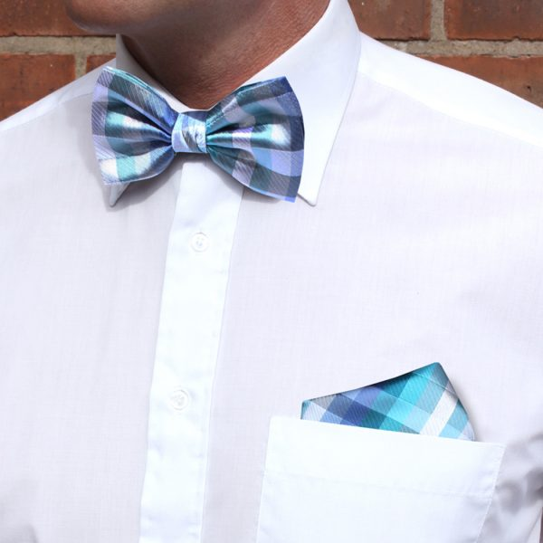 Blue/Silver Squared Silk Bow Tie-0