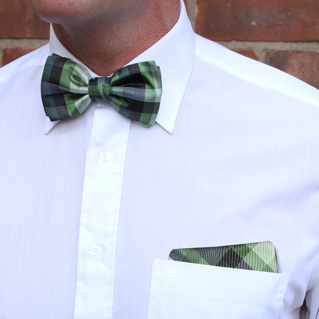 Green/Multi Striped Silk Bow Tie