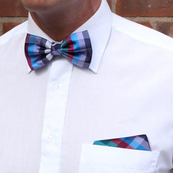 Wine/Multi Silk Bow Tie-0