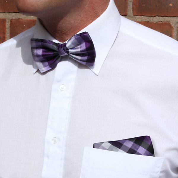 Purple/Multi Striped Silk Bow Tie-0