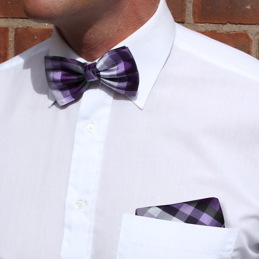 Purple/multi Striped Pocket Square
