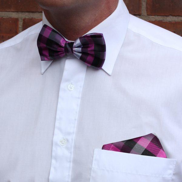 Pink/black striped Silk Bow Tie-0