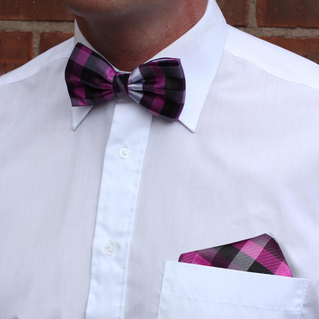 Pink/Black Striped Silk Bow Tie