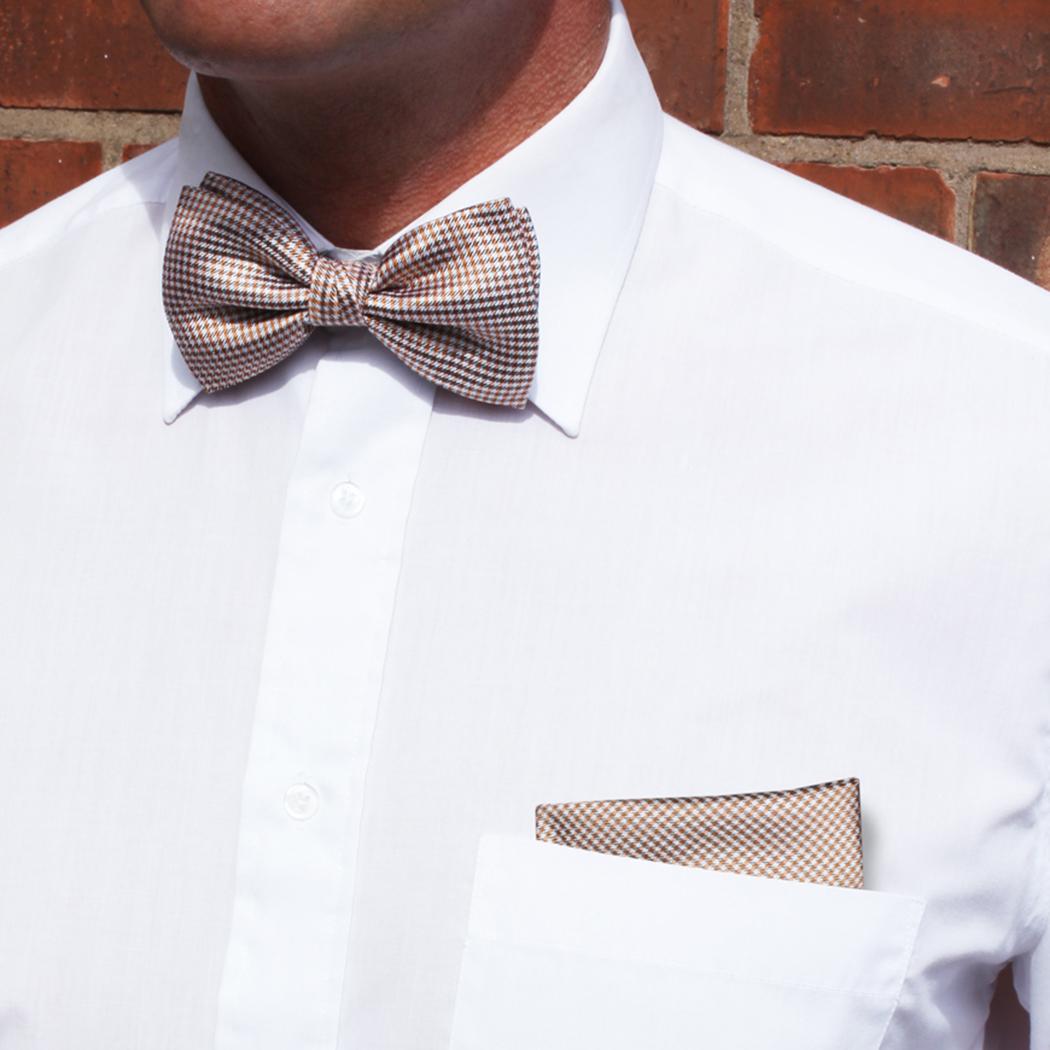 White/Burgundy Dogtooth Check Silk Bow Tie