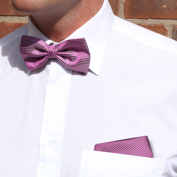 Pink/Burgundy Dogtooth Check Silk Bow Tie-0