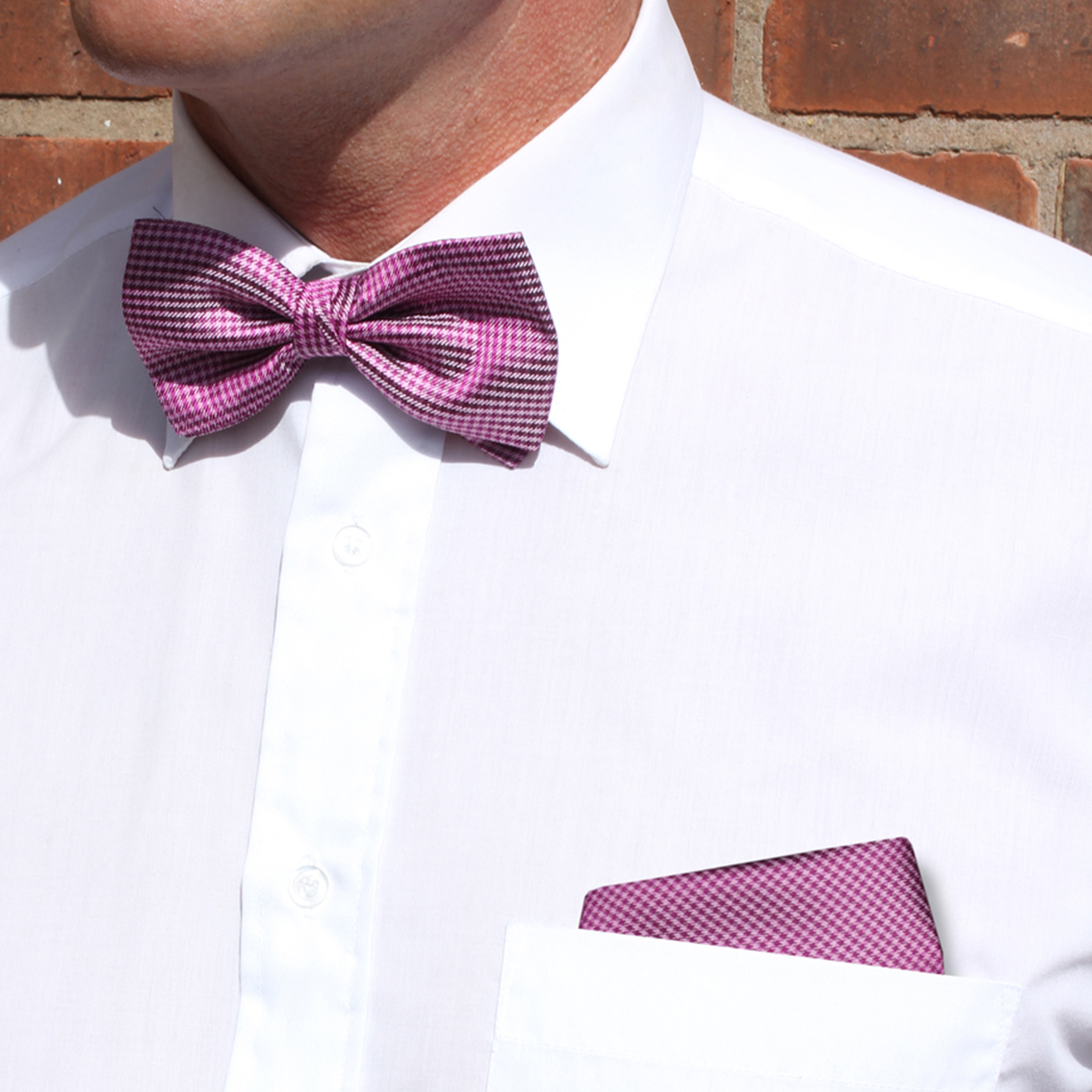 Pink/Burgundy Dogtooth Check Silk Bow Tie