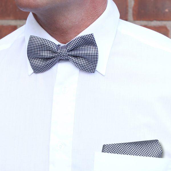 Navy/White Dogtooth Check Silk Bow Tie-0