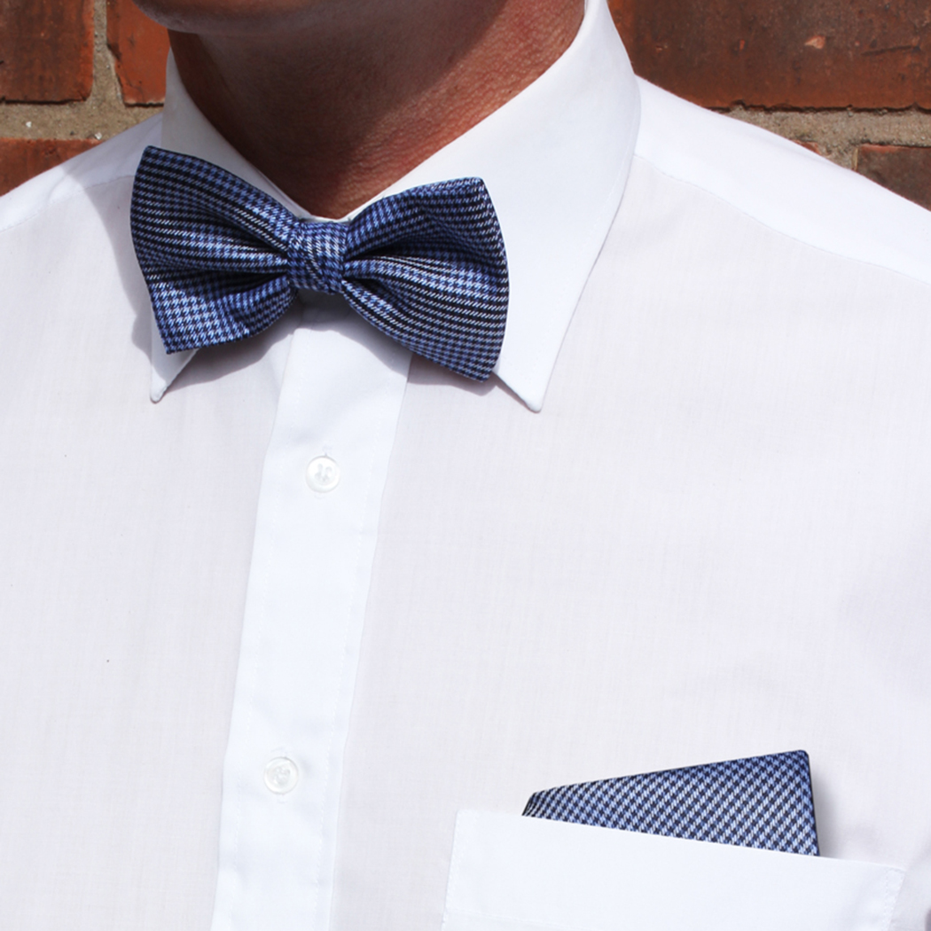 Navy/Blue Dogtooth Check Silk Bow Tie