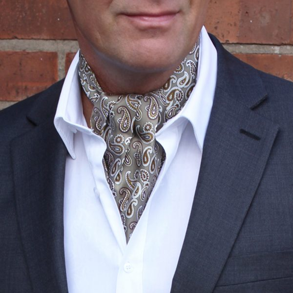 Silver/copper Paisley Silk self-tie cravat-0