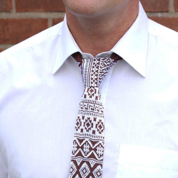 brown/white fair isle Silk Knitted Tie-0