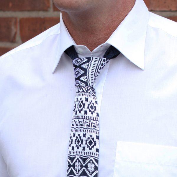 White/Navy fair isle Silk Knitted Tie-0