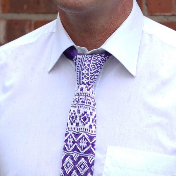 White/purple fair isle Silk Knitted Tie-0