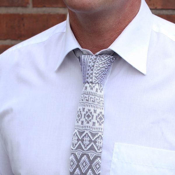 White/grey fair isle Silk Knitted Tie-0