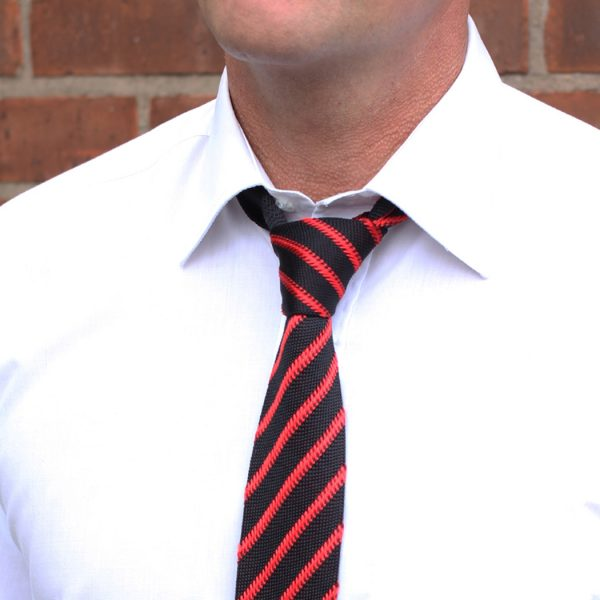 Red/black Striped Silk Knitted Tie-0