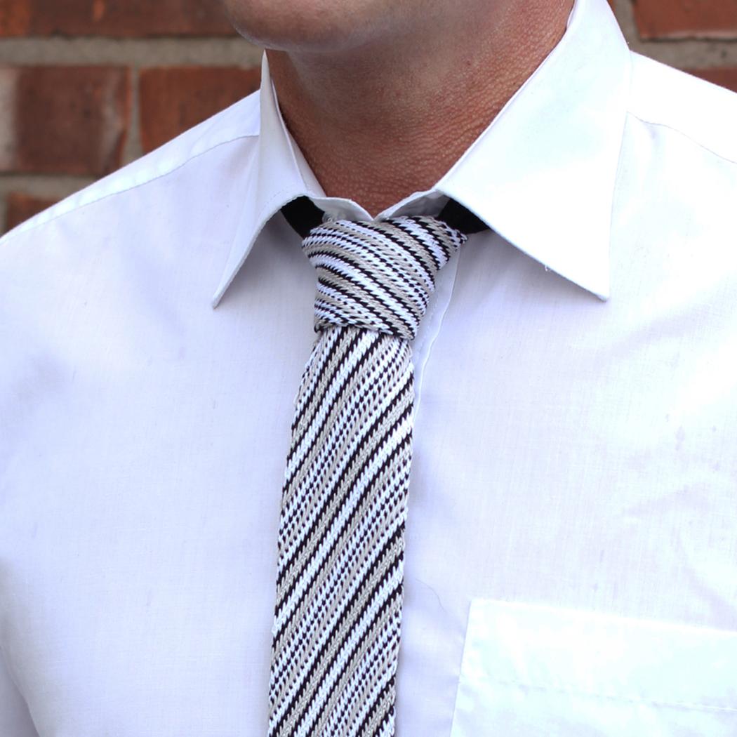 Black/grey/white striped silk knitted tie