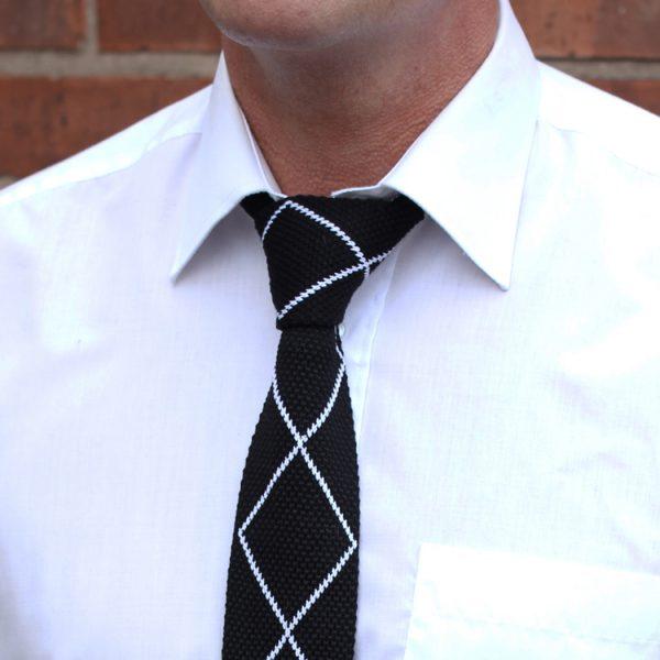 Black/white diamond Silk Knitted Tie-0
