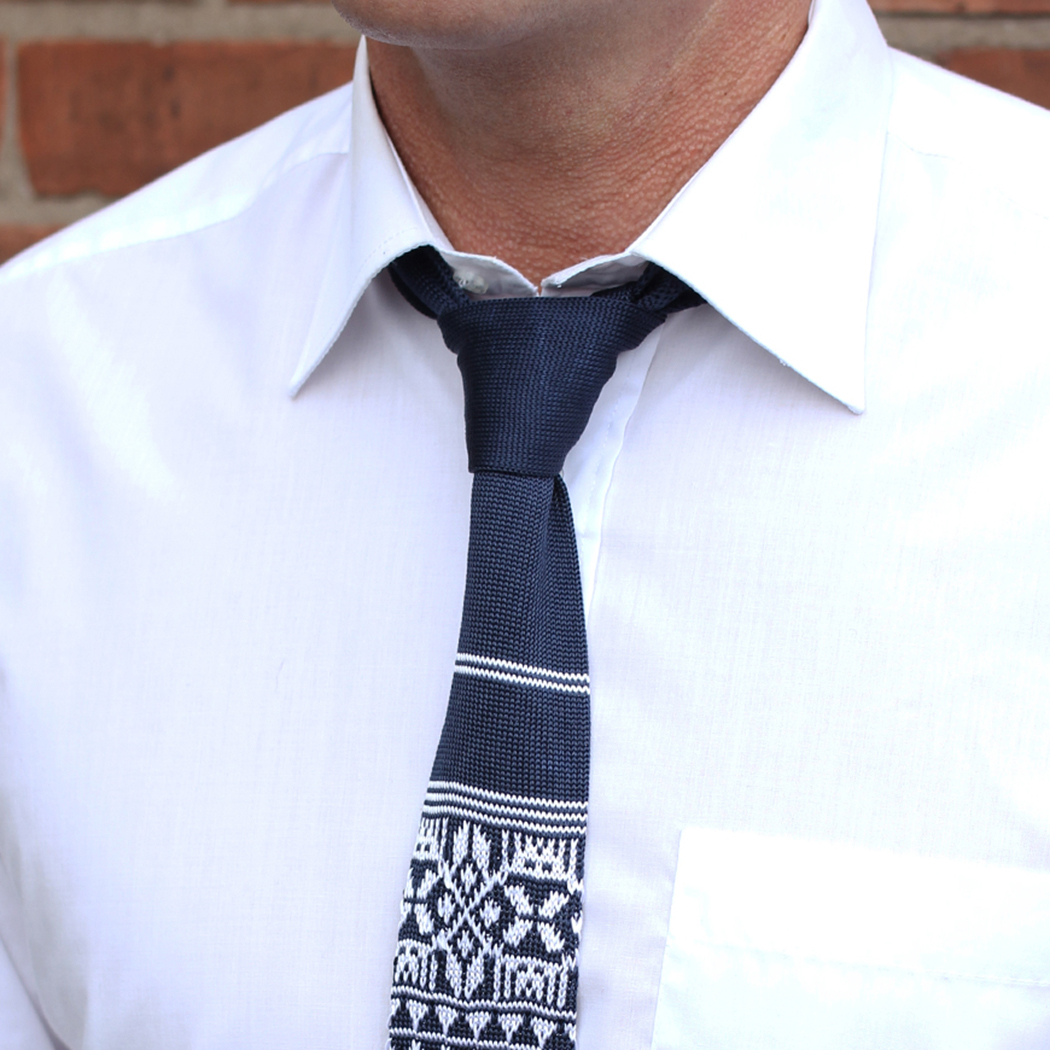 French navy/white fair isle silk knitted tie