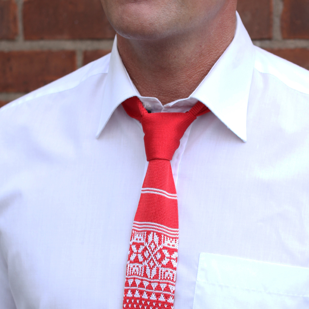 Red/White Fair Isle Silk Knitted Tie