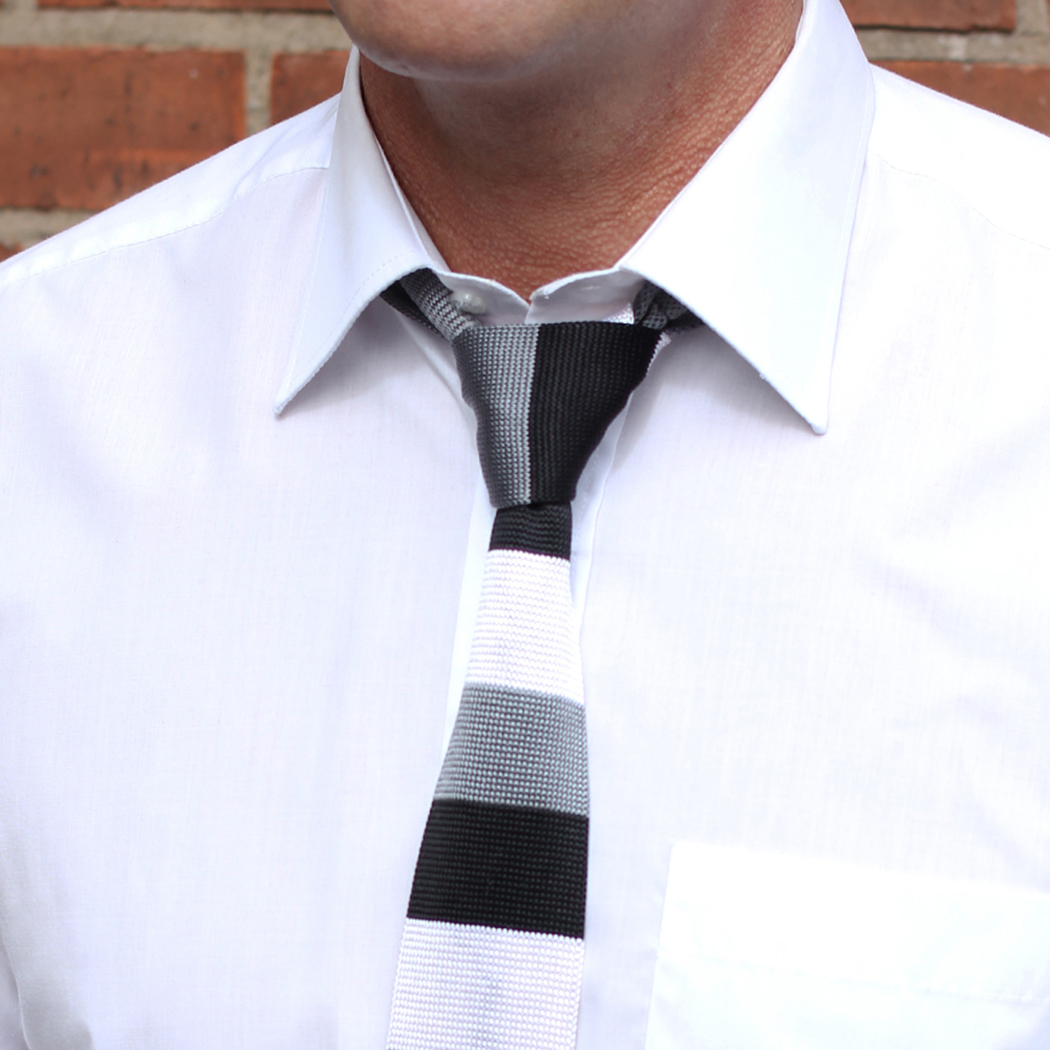 Black silver and charcoal striped Silk Knitted Tie