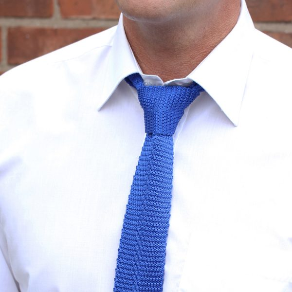 Plain Blue Silk Knitted Tie-0