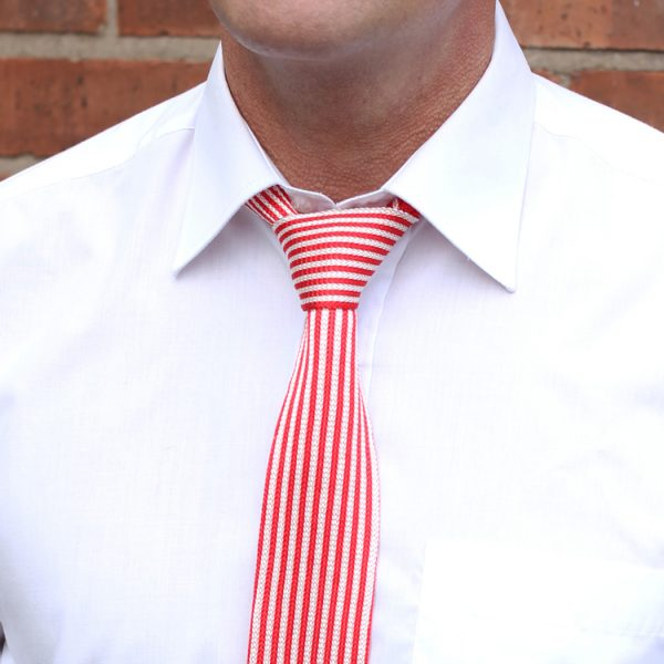 Red/white striped silk knitted tie-0