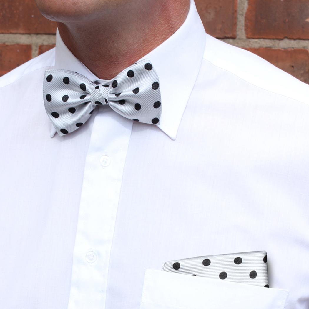 White/black polka dot Silk Bow Tie
